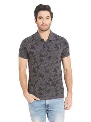 Printed Polo T-Shirt, s,  grey