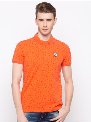 Spykar Polo Slim Fit T-Shirts,  coral, xl