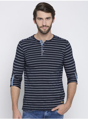 Spykar Striped Slim Fit T-Shirts,  navy, m