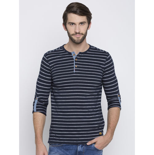 Spykar Striped Slim Fit T-Shirts