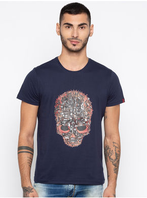 Spykar Printed Slim Fit T-Shirts, xl,  navy