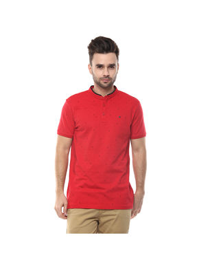 Graphic Stand Collar Print T-Shirt, m,  red