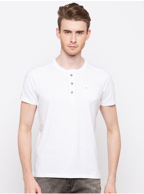 Spykar Henley Solids Slim Fit T-Shirts, l,  white