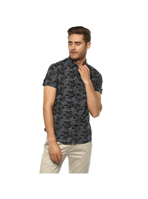 Printed Mandarin Collar Shirt,  blue, m
