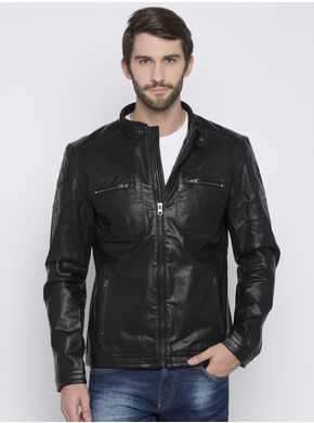 Spykar Biker Jacket,  black, m