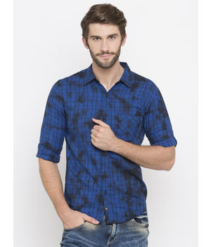 Spykar Checked Slim Fit Shirts, m,  blue
