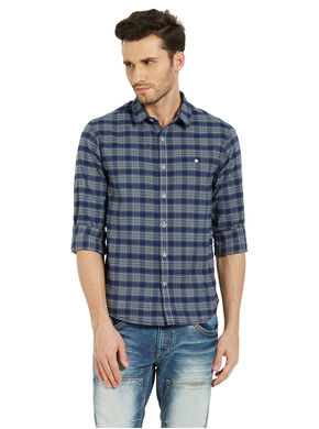 Spykar Checks Shirt In Slim Fit, l,  navy