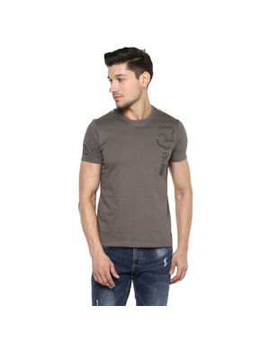 Solid Round Neck T-Shirt, l,  slate