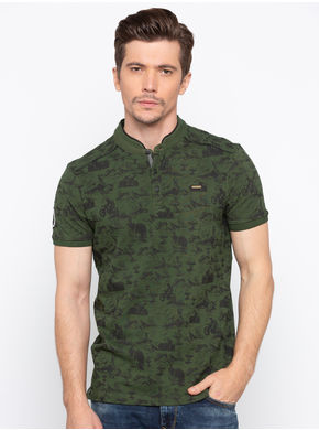 Spykar Band Slim Fit T-Shirts,  olive, m