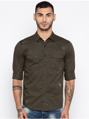 Spykar Printed Slim Fit Shirts,  olive, l