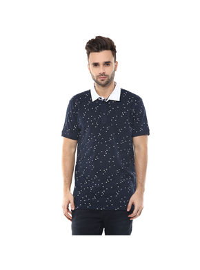 Printed Polo T-Shirt,  navy, s