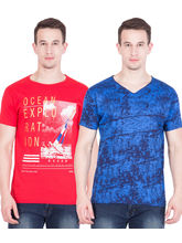 American-Elm Set of 2 Men's Cotton Tshirts, l, multicolor