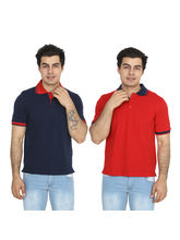 Brandtrendz Uva Red And Navy Pack of 2 Polo T Shirts, xl