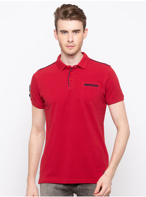 Spykar Polo Collar Slim Fit T-Shirts,  red, l