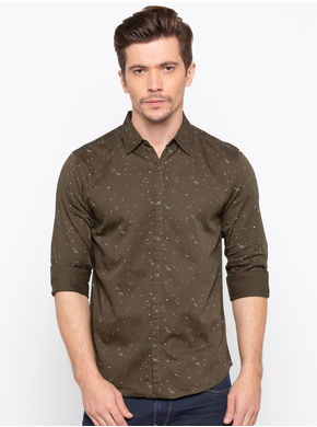Spykar Regular Slim Fit Shirts, m,  olive