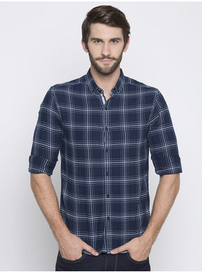 Spykar Checks Slim Fit Shirts,  navy, xl