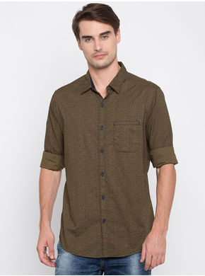 Spykar Printed Slim Fit Shirts, xl,  olive