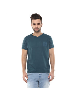 Solid V Neck T-Shirt, s,  green