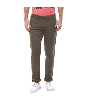 Solid Flat Front Trousers, 36,  olive