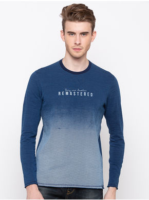 Spykar Round Neck Slim Fit T-Shirts,  indigo, m