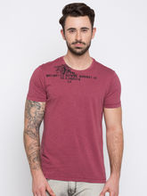 Dyed Round Neck T-Shirts, l, dull red
