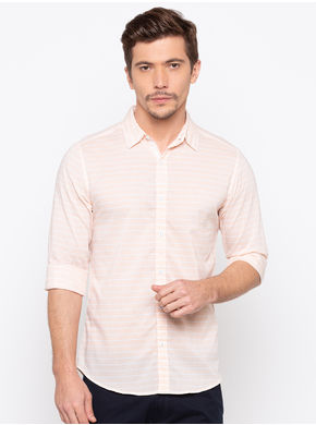 Spykar Regular Slim Fit Shirts,  peach, m