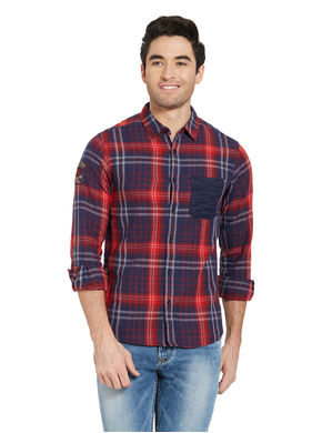 Checks Regular Slim Fit Shirt, m,  red