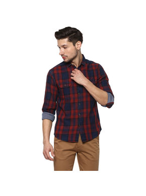 Checks Cut Away Shirt,  red, xl