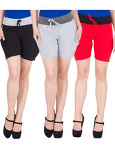 American-Elm Women's Cotton Shorts (Pack Of 3) Black, Grey, Red, m