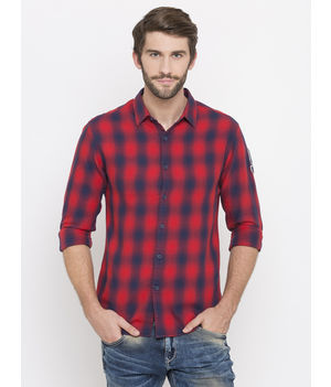 Spykar Checked Slim Fit Shirts, m,  red