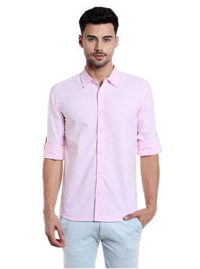 Solid Cut Away Slim Fit Shirt,  pink, s