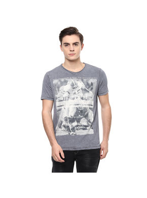 Printed V Neck T-Shirt, l,  cement