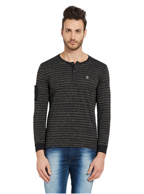 Striped Henley T-Shirt,  black, m