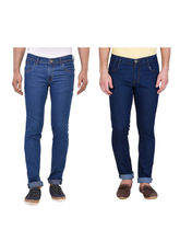 Stylox Stylish Pack Of 2 Cotton Jeans For Men-Light Blue & Dark Blue, 30