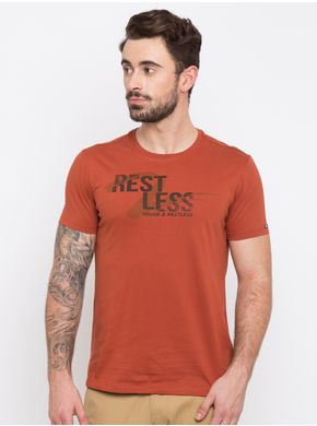 Spykar Prints Slim Fit T-Shirts,  rust, l
