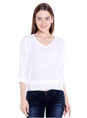 Solid V Neck Top,  off white, s