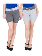 American-Elm Women's Hot Pants (Pack Of 2) Dark Grey, Grey, m