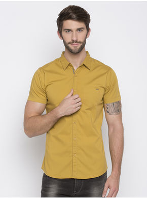 Spykar Solid Slim Fit Shirts, l,  khaki