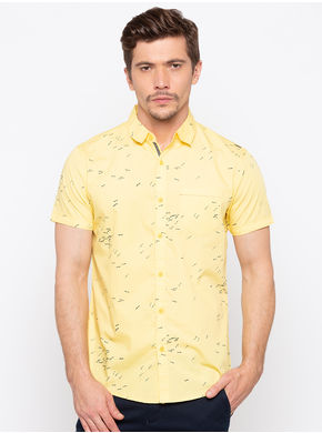 Spykar Regular Collar Prints Slim Fit Shirts,  yellow, xl