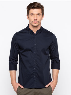 Spykar Slim Collar Slim Fit Shirts, xl,  navy