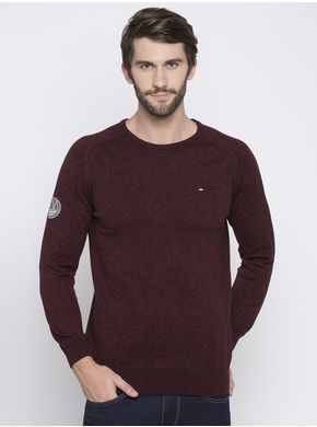 Spykar Maroon Self Design Slim Fit T-Shirts,  maroon, l