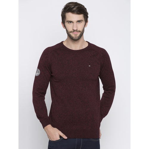 Spykar Maroon Self Design Slim Fit T-Shirts