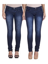 American-Elm Women's Stretchable Faded Jeans-Pack of 2, 28, blue