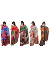 Swastik Sosa Silk Sarees Set of 5 (SWSKS01), multicolor