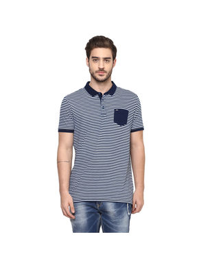 Striped Polo Slim Fit T-Shirt,  navy white, l