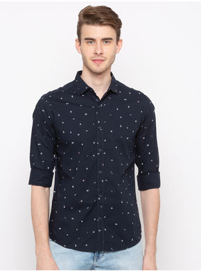 Spykar Regular Collar Prints Slim Fit Shirts,  navy, xl