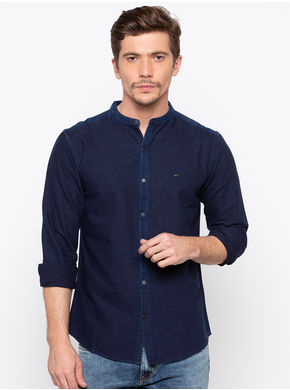 Spykar Mandarin Collar Slim Fit Shirts,  indigo, l