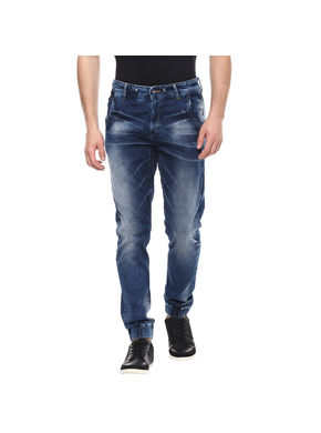 Mid Rise Joggers Fit Jeans,  dark blue, 34