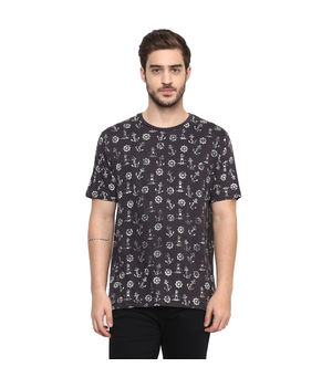 Printed Round Neck T-Shirt, s,  charcoal