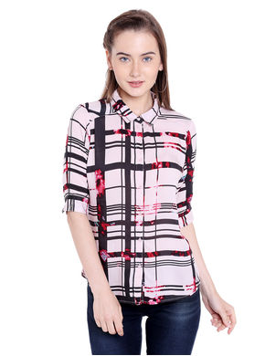 Printed Collar Shirt, xl,  black/white